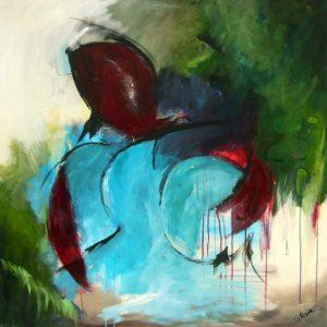 Akryl på lærred, 100x100 cm, Pris: 6.000 kr.